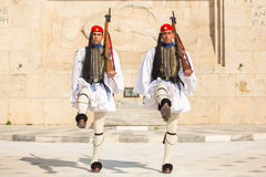 Greek soldiers Evzones dressed in full dress uniform, refers to the members of the Presidential Guard Stock Photography