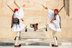 Greek soldiers Evzones dressed in full dress uniform, refers to the members of the Presidential Guard Royalty Free Stock Photography