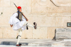 Greek soldiers Evzones dressed in full dress uniform, refers to the members of the Presidential Guard, an elite ceremonial unit Royalty Free Stock Images