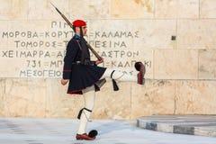 Greek soldiers Evzones dressed in service uniform Royalty Free Stock Photos