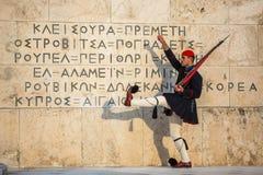 Greek soldiers Evzones dressed in service uniform Stock Images