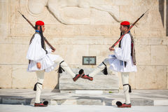 Greek soldiers Evzones dressed in service uniform Stock Photography