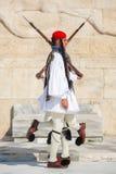 Greek soldiers Evzones dressed in service uniform Royalty Free Stock Image