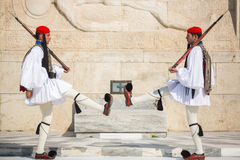 Greek soldiers Evzones dressed in service uniform Stock Photo