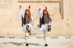 Greek soldiers Evzones dressed in service uniform Stock Photos