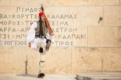 Greek soldiers Evzones dressed in service uniform Stock Image