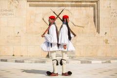 Greek soldiers Evzones dressed in service uniform Royalty Free Stock Photo