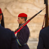 Greek soldiers Evzones dressed in service uniform, refers to the members of the Presidential Guard Royalty Free Stock Photos