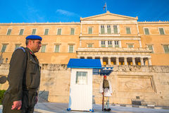 Greek soldiers Evzones dressed in service uniform, refers to the members of the Presidential Guard Stock Photography