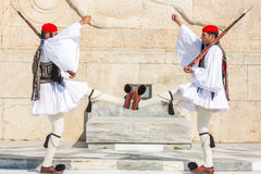 Greek soldiers Evzones (or Evzoni) dressed in full dress uniform, refers to the members of the Presidential Guard Stock Photo