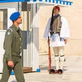 Greek soldiers Evzones (or Evzoni) dressed in full dress uniform, refers to the members of the Presidential Guard Stock Image
