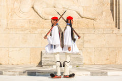 Greek soldiers Evzones (or Evzoni) dressed in full dress uniform, refers to the members of the Presidential Guard Stock Photos