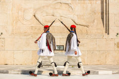 Greek soldiers Evzones (or Evzoni) dressed in full dress uniform, refers to the members of the Presidential Guard Stock Images