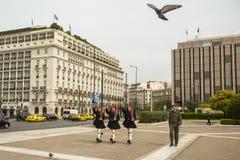Greek soldiers Evzones (or Evzoni) dressed in service uniform royalty free stock photos