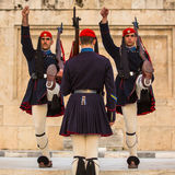 Greek soldiers Evzones (or Evzoni) dressed in service uniform, refers to the members of the Presidential Guard, Stock Photography