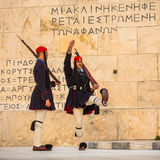 Greek soldiers Evzones (or Evzoni) dressed in service uniform, refers to the members of the Presidential Guard Royalty Free Stock Images