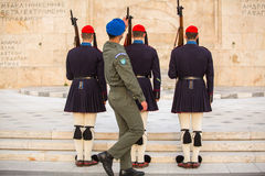 Greek soldiers Evzones (or Evzoni) dressed in service uniform, refers to the members of the Presidential Guard Royalty Free Stock Photo