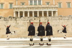 Greek soldiers Evzones (or Evzoni) dressed in service uniform, refers to the members of Presidential Guard Royalty Free Stock Photography
