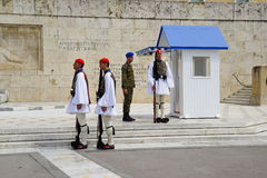 Greek soldiers at Greek parliament in Athens,Greece. stock images