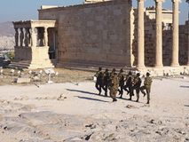 Greek Soldiers march in the Acropolis stock images