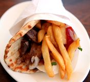 Greek souvlaki gyros royalty free stock photos