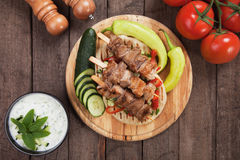 Greek souvlaki skewer Royalty Free Stock Images