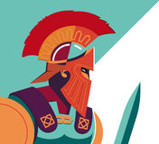 Greek Spartan Warrior or Trojan Soldier holding shield and sword Stock Images