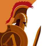 Greek Spartan Warrior or Trojan Soldier holding shield and sword Royalty Free Stock Image