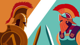 Greek Spartan Warrior versus Trojan Soldier holding shield and s Stock Photography