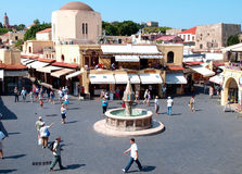 Greek square Stock Photo