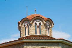 Greek St. Lydia's baptistry church dome close-up,  Lydia, Philippi, Greece Stock Photos