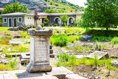 Greek St. Lydia's baptistry church yard with ancient stone, Lydia, Philippi, Greece Royalty Free Stock Photos