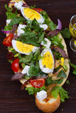 Greek Steak Salad on Bread with Eggs and Feta. Stock Photography