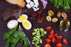 Greek Steak Salad on Bread with Eggs and Feta. Stock Photos