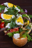 Greek Steak Salad on Bread with Eggs and Feta. Stock Images