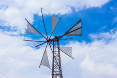Greek steel windmill Royalty Free Stock Image