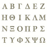 Greek stone alphabet Stock Photos