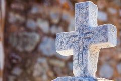 Greek stone cross on burial ground. Architecture detail, Vathia Mani Greece royalty free stock image