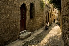 Greek street Stock Photo