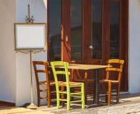 Greek street cafe Stock Photo