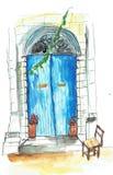 Greek street Греческая дверь vector illustration