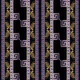Greek striped floral 3d vector seamless pattern. Geometric abstr. Act black background with greek flowers, swirl lines, stripes, vertical greek key meander vector illustration
