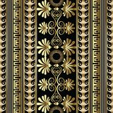 Greek striped floral vector seamless pattern. Geometric abstract. Black background with gold 3d greek flowers, swirl lines, stripes, vertical greek key meander Royalty Free Stock Photo