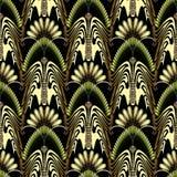 Greek style abstract butterflies gold 3d vector seamless pattern. Hand drawn vintage ancient greek key meander ornament. Modern ornamental butterflies stock illustration