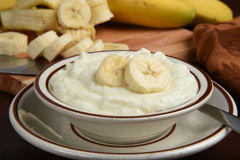 Greek style banana yogurt Stock Images