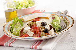 Greek style crepe on a plate Royalty Free Stock Photography