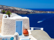 Greek style door and Santorini panorama Royalty Free Stock Images