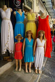Greek style dresses in the market,Athens,Greece. stock images