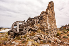 Greek style old windmill in Kimolos island,  Cyclades Royalty Free Stock Photography