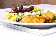 Greek style omelette with assorted fruits Stock Photo